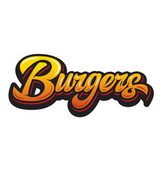 color with calligraphic burger vector image