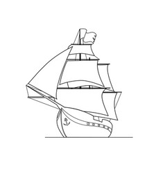 contour image of ship isolated on white background vector image