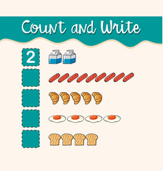 Count and write with different types of food vector