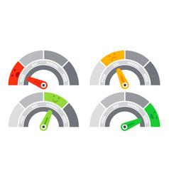 Credit score speedometer indicating different vector