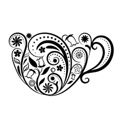 Cup of Tea With Floral Design Elements vector image