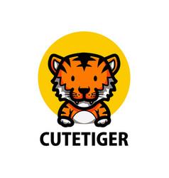 Cute tiger cartoon logo icon vector