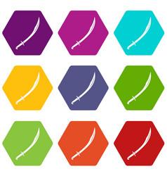 Cutlass icon set color hexahedron vector