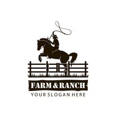 emblem cowboy silhouette vector image