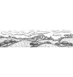 Engraved rustic landscape with house field tree vector
