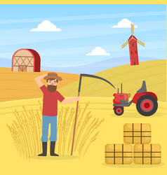 farmer mowing grass with scyagricultural vector image