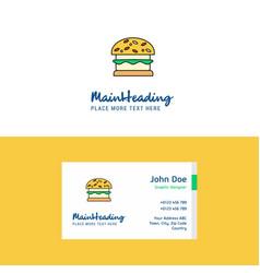 flat burger logo and visiting card template vector image