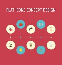 flat icons sack landscape faucet elements vector image