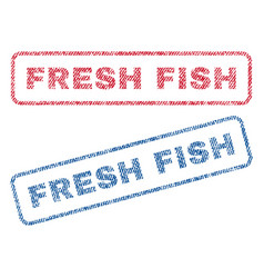 Fresh fish textile stamps vector