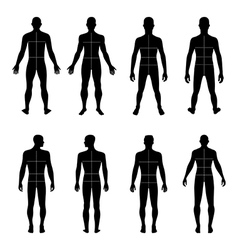 Full length front back man silhouette vector image