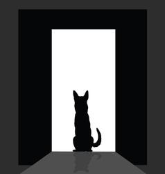 German shepard at the door silhouette vector