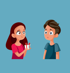 Girl offering a gift box to her boyfriend vector