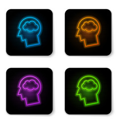 glowing neon head silhouette with cloud icon vector image