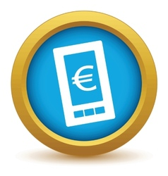 Gold euro phone icon vector image