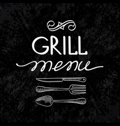grill menu typographical concept vector image