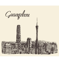 Guangzhou skyline drawn sketch vector image