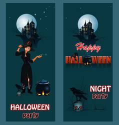 halloween party poster with sexual witch vector image