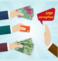 Hands giving card or money for bribe stop vector