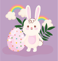 Happy easter cute rabbit and egg rainbows floral vector