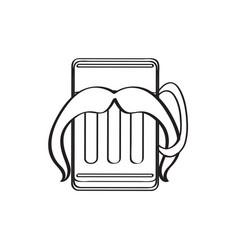 Hipster beer outline vector