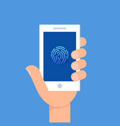 Holding a smartphone with fingerprint vector