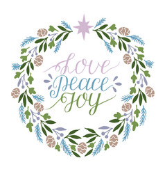 holiday card made hand lettering love peace joy vector image