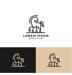 horse logo icon line art outline download vector image