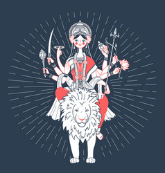 icon of goddess durga a lion vector image