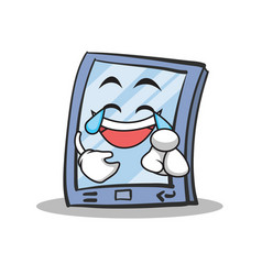 Joy face tablet character cartoon style vector