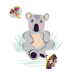 koala cute bear and moths on a meadow vector image