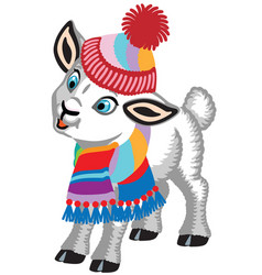 Lamb wearing scarf and hat vector