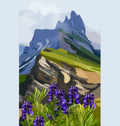 Lavender and mountains hills vector