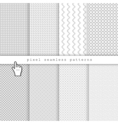 Light pixel seamless patterns vector