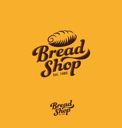 Logo bakery fresh bread pastry emblem vintage vector