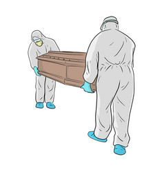 Men in ppe suit personal protective vector