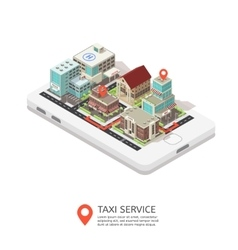 Mobile Taxi Service Isometric Design vector