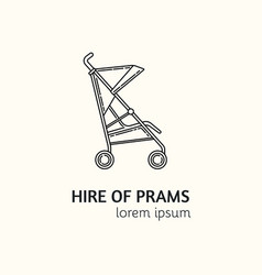 modern linear style hire of prams logotype vector image