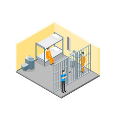 modern prison interior with furniture and people vector image