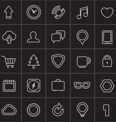 Modern web icons collection on black vector image