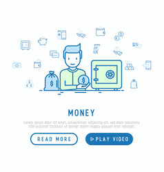 money concept man near safe and bag of gold vector image