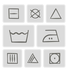 Monochrome icons with washing symbols vector