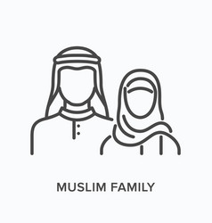 Muslim family flat line icon outline vector