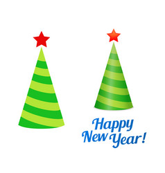 new year christmas tree in form holiday cap vector image