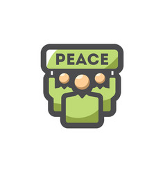 People with green banner peace icon cartoon vector