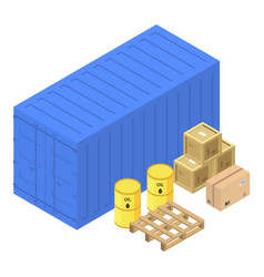 port container box icon isometric style vector image