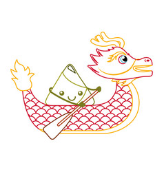 Red dragon rice dumpling paddling festival chinese vector