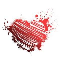 red grunge heart vector image