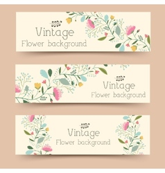 retro flower banners concept design vector image