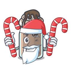 Santa with candy milkshake mascot cartoon style vector