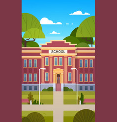 School building exterior empty front yard with vector